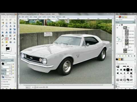 Car color change - black to white in GIMP (works with photoshop too)