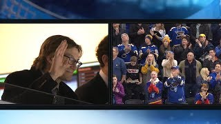 Jay Bouwmeester helps cheer on the Blues