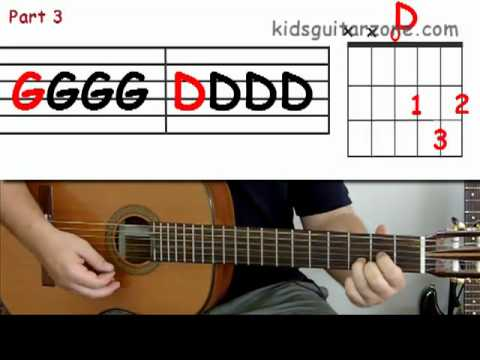 Guitar lesson 8 : Beginner -- How to play 'Yellow Submarine' with A, D and G chords