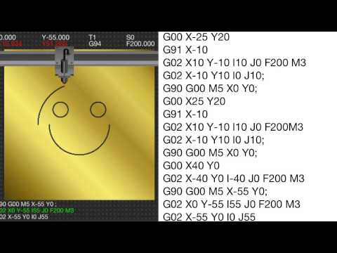 Sample G-codes : #1 Smiley face (circular interpolation basics)