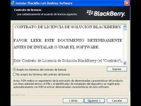 Instalar correctamente Blackberry Desktop Manager
