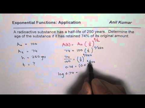 Find Age of Substance From Given Half Life Exponential Decay