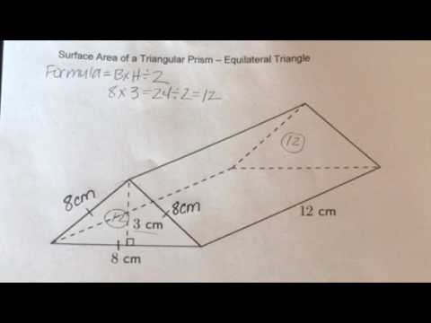 How to find the Surface Area of a Triangular Prism - Equilateral Triangle