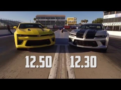 2016 Chevy Camaro SS Drag Test Auto vs Manual with Jeff Lutz at the Wheel