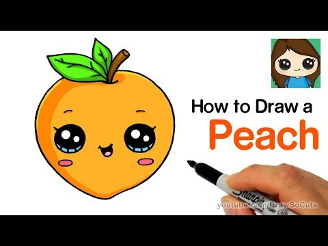 How to Draw a Peach Easy and Cute | Cartoon Fruit