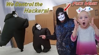 Controlling the Chubby Hackers with Homemade Game Master Mask! Fortnite Dances!!