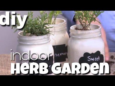 DIY Indoor Herb Garden l Mason Jar Gardening
