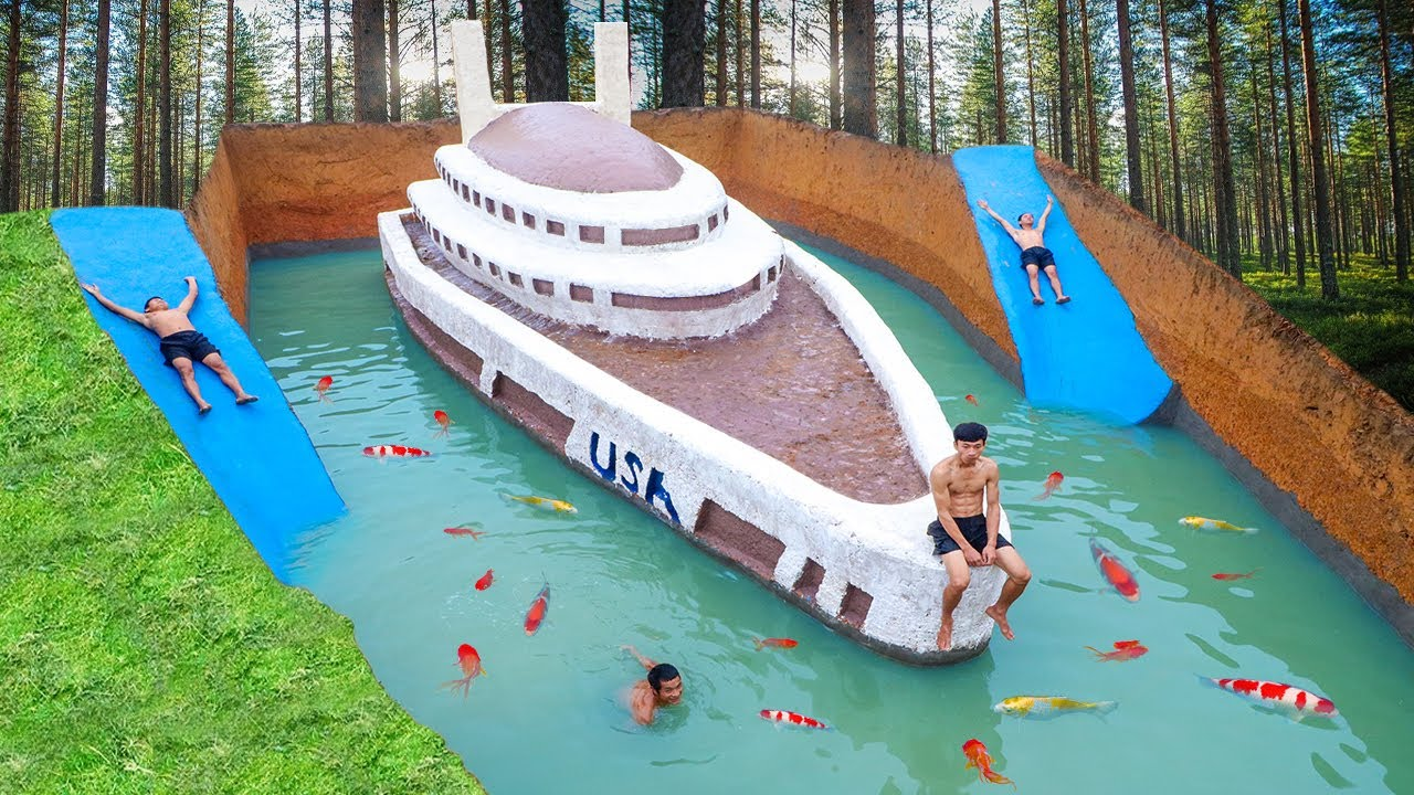 Awesome Build Three Story Boat Villa House & Water Slide Swimming Pool