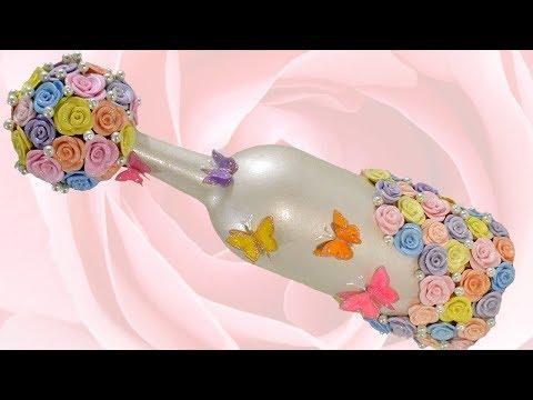 DIY Spring Bling Bottle Decor | Butterflies & Roses | With Glitter