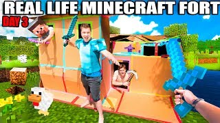 Real Life MINECRAFT Box Fort! 24 Hour Challenge DAY 3 - Cooking, Creepers & More!