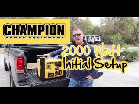 Champion 2,000 Watt Portable Inverter Generator Setup & First Run, Adding Oil & Gas, Recoil Start