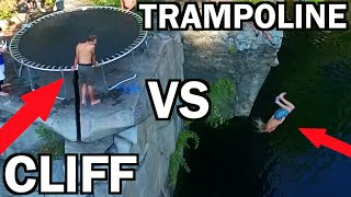 TRAMPOLINE VS CLIFF!!! *Do Not Attempt* | JOOGSQUAD PPJT