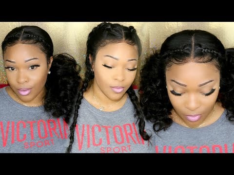 Cute Lazy Natural Hair Day Looks: 2 French/Dutch Braids | 360 Lace Frontal Wig | OmgQueen