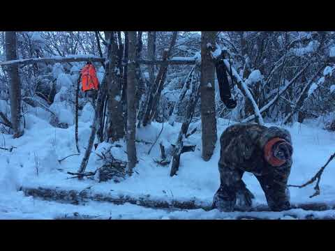 Shelter building in the snow