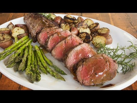 Grilled Beef Tenderloin Recipe with Red Wine Shallot Reduction - on a Primo XL Oval Kamado