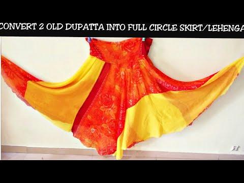Convert/Recycle Old dupatta to a Skirt (Lehenga) Reuse old dupatta (Hindi)