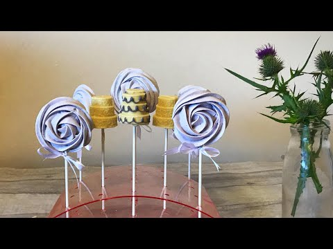 Wedding cake chocolate lollies and matching meringue pops. Wedding favour tutorial