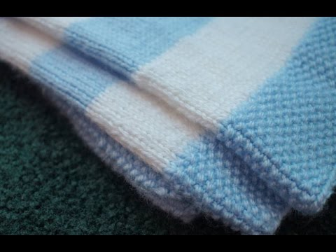 Left Handed Seed Stitch Tutorial, Complimentary Striped Baby Blanket Pattern