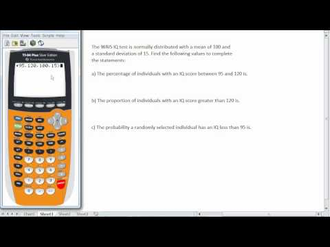 Finding Probabilities in the Normal Distibution with the TI84 Calculator.