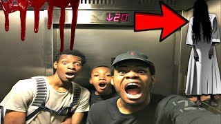 PLAYING THE CREEPY ELEVATOR GAME *WE SEEN THE GIRL AGAIN!!!!!*
