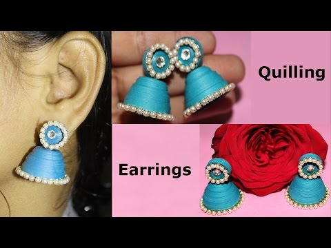 How to Make Paper Quilling Earrings Jhumkas Tutorial
