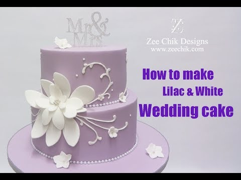 How to make Lilac and White flower Wedding cake