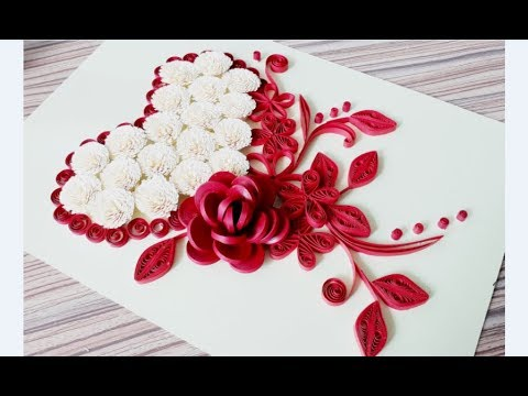 DIY Paper quilling Flower Card Design 33 // Quilling Heart  // Quilling love