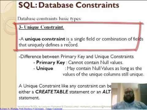 Oracle Unique Constraint تعليم اوراكل
