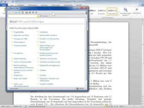 Microsoft Word 2010 Das Hilfefenster im Vordergrund behalten
