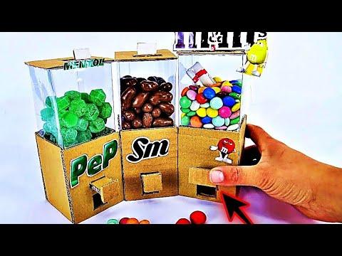 DIY Cardboard Candy Dispenser Vending Machine! SKITTLES M&Ms