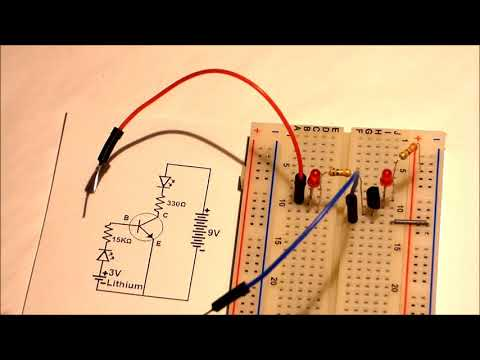 Simple 2 battery NPN transistor schematic and circuit explained for beginners starting electronics.