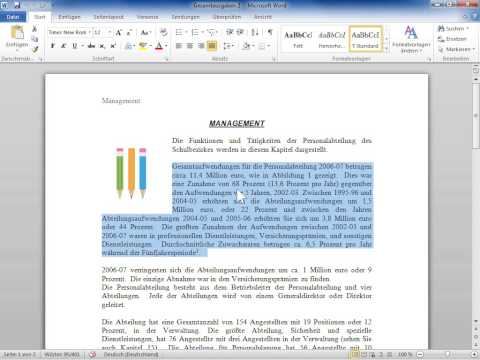 Microsoft Word 2010 Die Wörter in einer Auswahl oder Auswahlen zählen