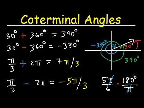 Coterminal Angles - Positive and Negative, Converting Degrees to Radians, Unit Circle, Trigonometry
