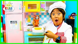 Download Ryan Pretend Play Cooking with Kitchen Play Set and Food Toys!!! Video