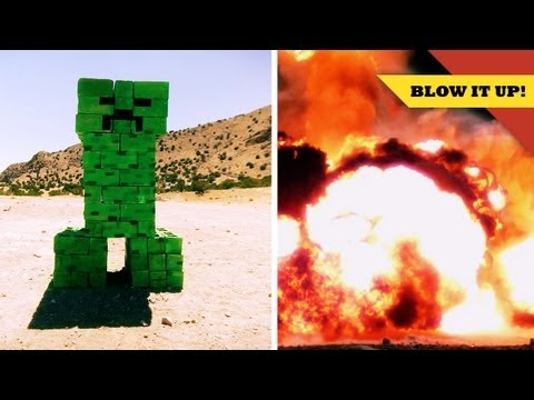 Exploding a MINECRAFT Creeper in SLOW MOTION!
