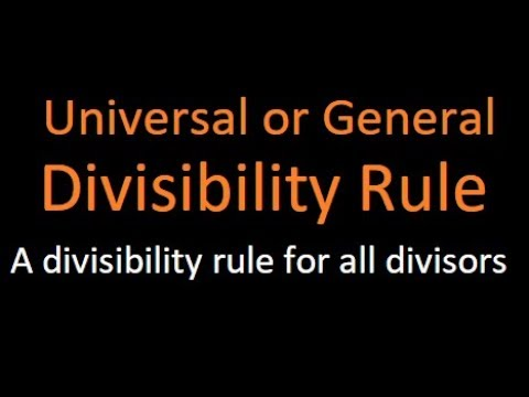 General or Universal divisibility rule | One Rule for all divisors | Pank PO | IBPS |