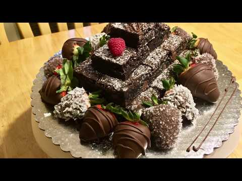How to Make a Brownie Tower with Chocolate Covered Strawberries