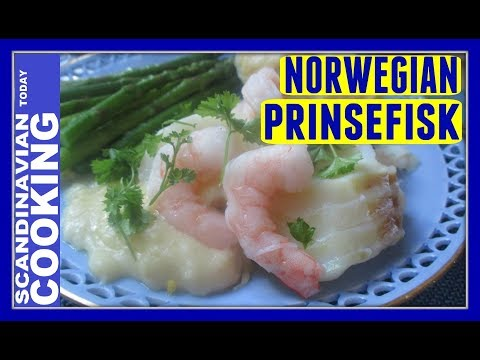 Prince Fish with Asparagus and White Sauce - A Traditional Norwegian Cod Fish Dinner