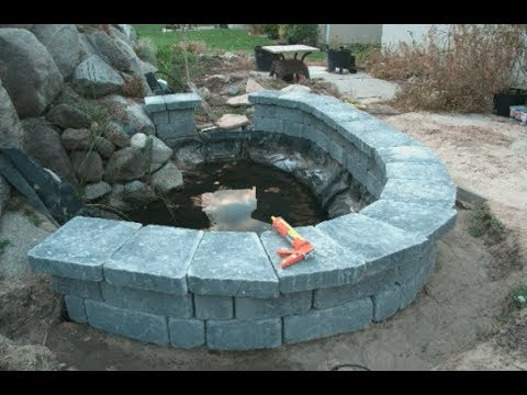 Building a Keystone block Pond Wall