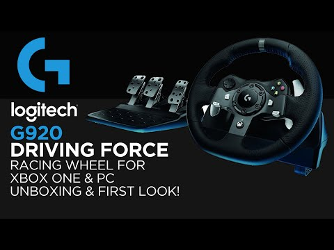 Logitech Gaming G920 Driving Force Racing Wheel Unboxing & First Look! (For Xbox One & PC)