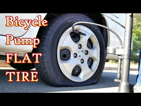 Bicycle Pump Inflates Flat Car Tire in Real Time