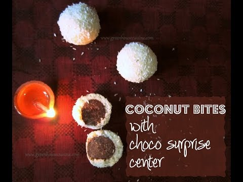 coconut bites with chocolate center/ladoo/laddu(no cooking required)