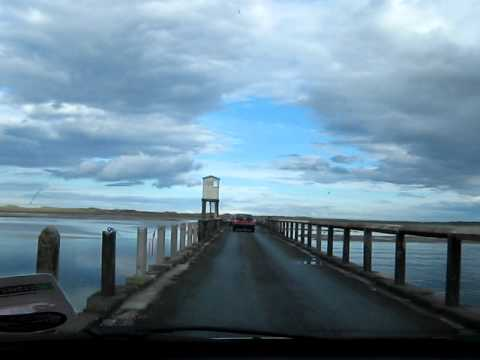 Crossing Causeway to Holy Island and Lindisfarne. 20 Sept 2010.