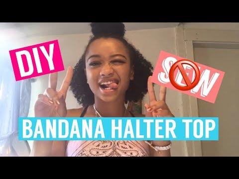 DIY Bandana Halter Top (No Sew, Super Easy) | #Curlsisterstv