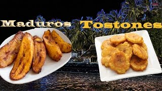 How To Make Tostones And Maduros Side Dish Fried Plantains And Sweet