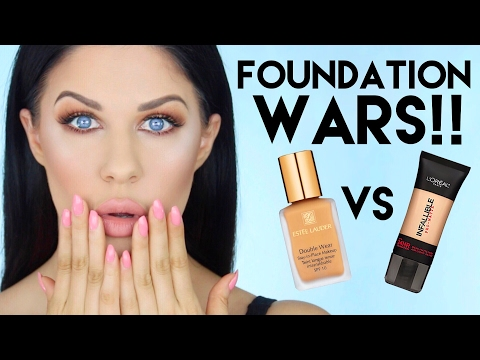 FOUNDATION WARS!! | ESTEE LAUDER DOUBLE WEAR VS L'OREAL PRO MATTE FOUNDATION!!