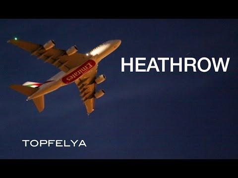 Heathrow airport night time plane spotting