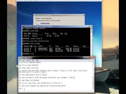 FIXING MBR in Windows 7 using COMMAND PROMPT and a Windows 7 DVD
