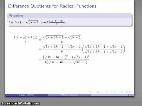 Calculus 140 Difference Quotients (Radical Functions)