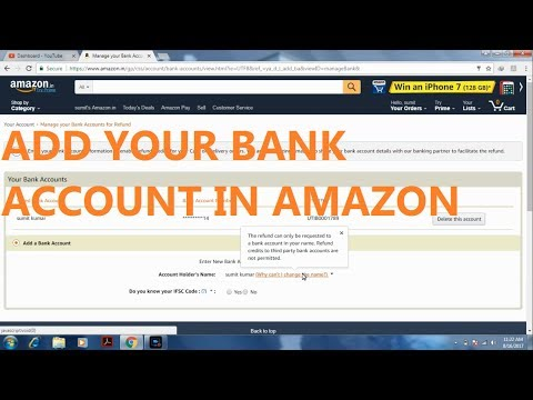 How to add Bank Account in AMAZON for REFUND